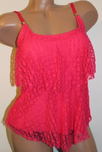 24th /& Ocean Size Medium Strawberry Crochet Overlay Tiered Tankini Top NEW