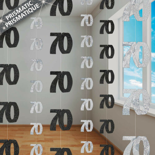 6 Happy 70th Birthday Black Glitz 5ft Hanging String Party Decorations