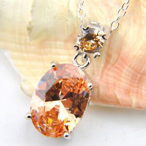 Genuine-Handmade-New-Champange-Morganite-Gems-Silver-Necklace-Pendant-With-Chain