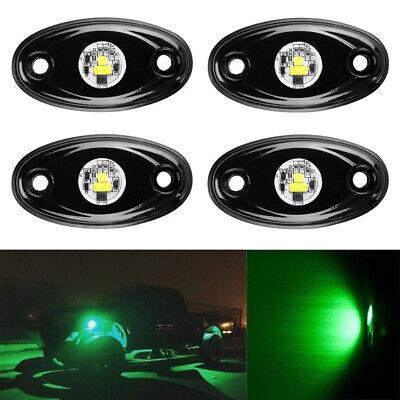4X GREEN CREE LED Rock Light Pods Under Wheel Trail Rig Lamp Offroad ATV UTV 4X4