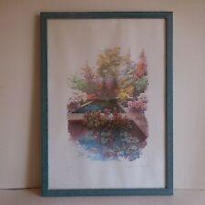 Peinture aquarelle sur papier encadrée signée LEVINE Le Jardin de Monet