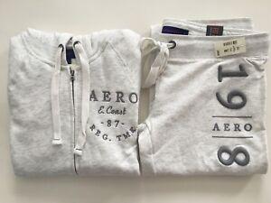 Aero Set Felpa felpati con S abbinati L pantaloni Aeropostale e Grigio Womens Flare cappuccio Xl Xxl HdwKRMvpq
