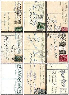 9 POSTCARD - BACKGROUND VINTAGE 155 LB PAPER CRAFT CARD SCRAPBOOK TAG