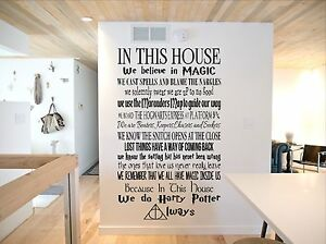 harry potter wall art HARRY POTTER QUOTES, INSPIRED, IN THIS HOUSE, WALL ART DECAL VINYL  harry potter wall art