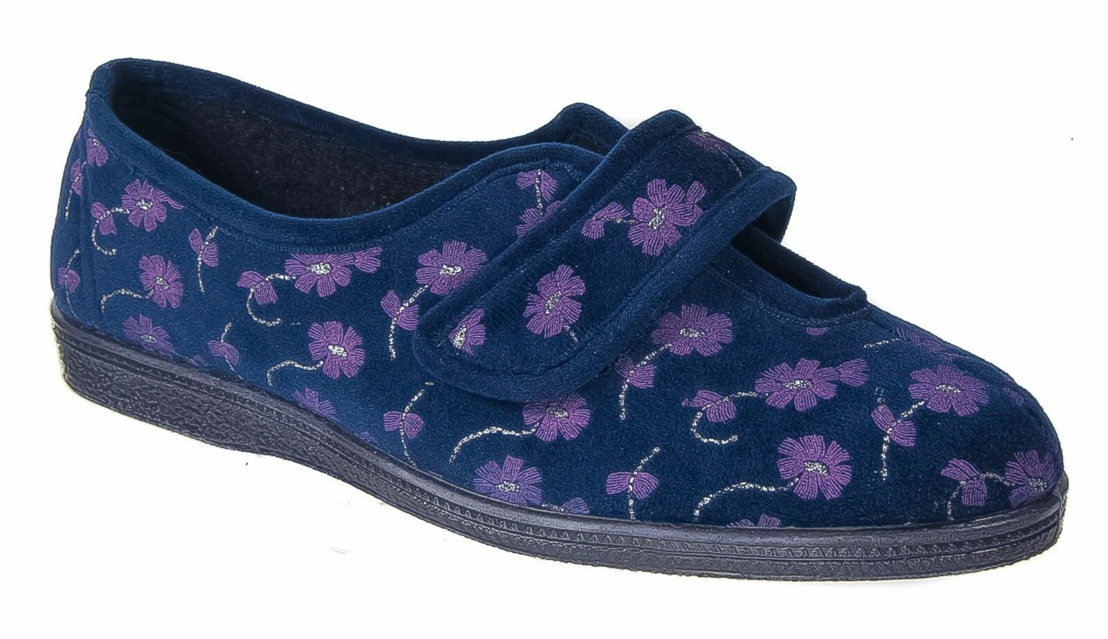Womens Ladies Wide Fit Slippers / Navy Blue Touch Fastening Sleepers 3 to 9