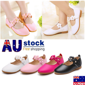 AU-New-Kids-Infant-Girls-Leather-Flats-Wedding-Party-Toddler-Princess-Shoes-Size