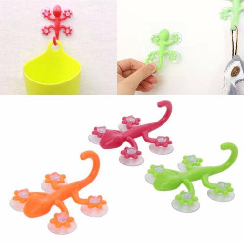 3PCS Gecko Powerful Plastic Four Suction Cups Hook Bathroom Wall Hanger CY1