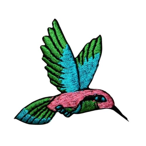 ID 0498 Small Hummingbird Patch Flying Nectar Bird Embroidered Iron On Applique