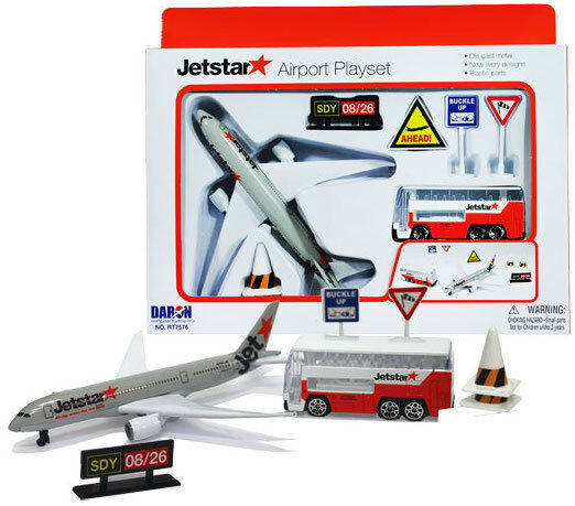 Jetstar Airport Playset including diecast toy plane and bus.