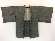 Authentic Haori Giapponese di seta Nera giacca per kimono, con Himo, Usato (F1114)