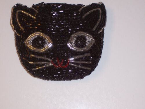 VTG HALLOWEEN Purse BLACK CAT BLACK CHANGE BEADED