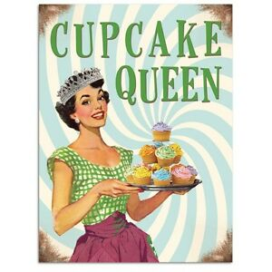 Cupcake queen kitchen baking retro funny 50s pin up girl small metal tin sign ebay - Small tin girl ...