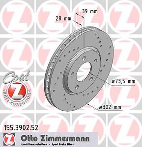 Bremsscheibe Zimmermann 155.3902.52 SPORT-BREMSSCHEIBE COAT Z 2 Stück
