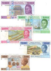 CAMEROON-Set-500-1000-2000-5000-10000-Central-African-Francs-2002-P-206-210U