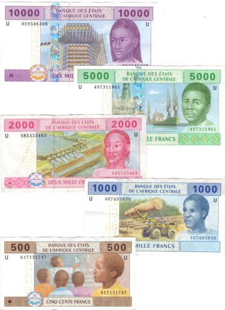 CAMEROON Set 500 1000 2000 5000 10000 Central African Francs (2002) P-206-210U