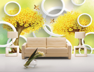 3D Tree Circle 659 Wallpaper Murals Wall Print Wallpaper Mural AJ WALL UK Lemon