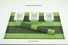 6 Handmade Bamboo Placemats Handmade Table Mats, Green - Black, P005