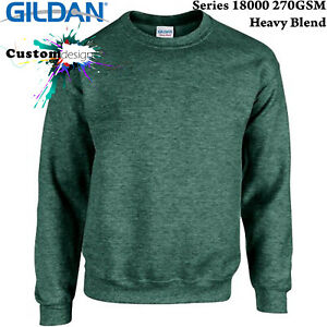 Gildan-Heather-Sport-Dark-Green-Heavy-Basic-Sweater-Jumper-Sweatshirt-Mens