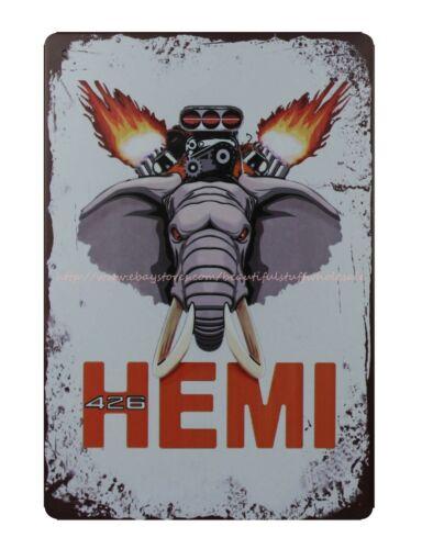 indoor wall art HEMI Mopars car elephant metal tin sign