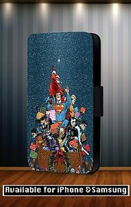 Christmas-Xmas-Super-Hero-Marvel-DC-Comic-Faux-Leather-Flip-Phone-Case-CoverY106