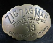 VINTAGE  ZIG ZAG MAN 60S ROLLING PAPER BRASS BADGE PIN pot weed marijuana 13