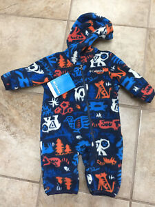 072d55b1f NWT Columbia Fireside Warm Cuddle Fleece BUNTING Suit NAVY CRITTERS ...