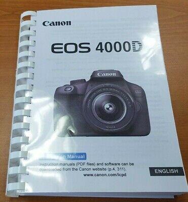 Cámara Canon Eos 4000D Manual Del Usuario Impreso Guía Manual De 322 páginas A5
