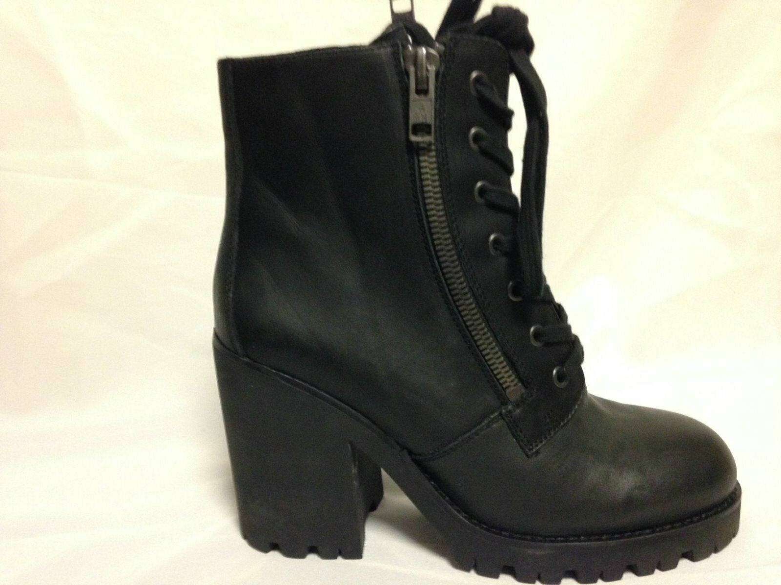 ASH Poker Lace Up Up Up Motorcycle Ankle Boot 41 M Black Leather  New w Box 7d3d38