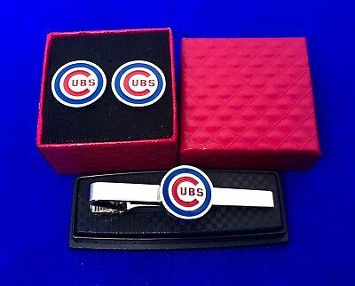 Klug Chicago Cubs Tie Clip & Manschettenknöpfe Set Baseball Hochzeit Weihnachten Kann Wiederholt Umgeformt Werden. Baseball & Softball