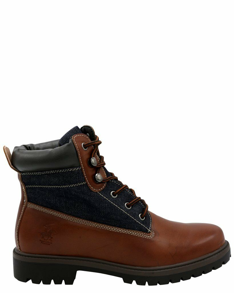 New Men's Beverly Hills Polo Jamie Denim PU Boot Brown-Navy Size 8.5 Brand New