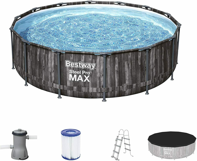 "New 12ft Bestway 12' x 39.5"" Steel Pro Max Pool Set Outdoor Swimming Pool 5614Z"
