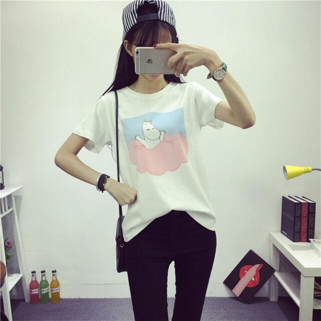 01828c722 Women Summer Short Sleeve T Shirts Cartoon Pink Blue Clouds Print Tee Tops  White