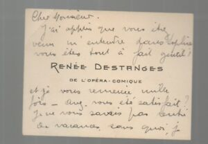 Autographe De Renee DESTANGES Sur Sa Carte