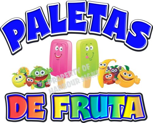 "Paletas Popsicles  Fruit Concession Cart Food Truck Van Decal 24/"" Vinyl  Menu"