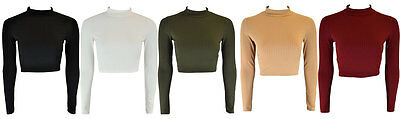 New Womens Plain Ribbed Long Sleeve Turtle Neck Ladies T-Shirt Crop Top 8 - 14