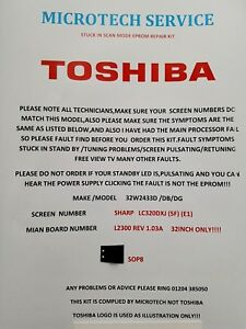 Details about TOSHIBA 32W2433D /DB/DG LC320DXJ L2300 REV 1 03A STUCK IN  SCAN FIRMWARE KIT
