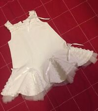 Baby Biscotti White Cotton Ruffle Embellished dress 9 Month EUC