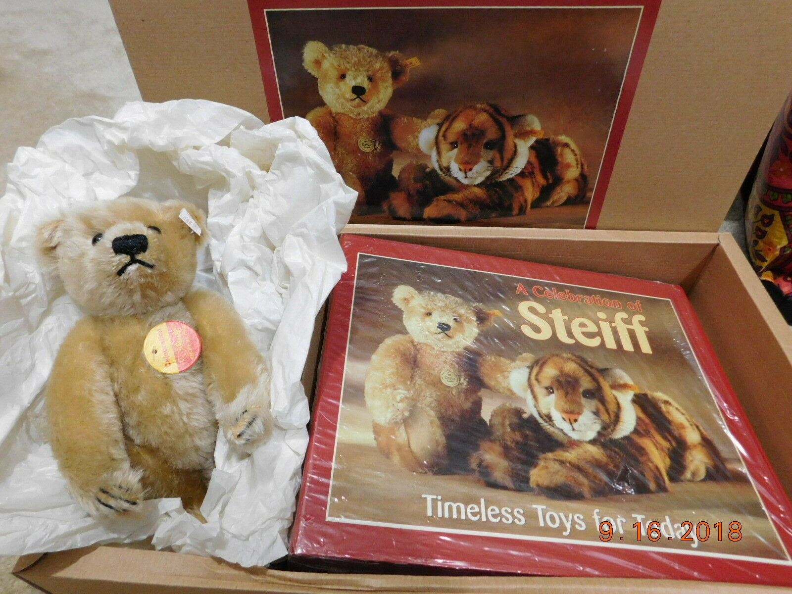 NEW~STEIFF 1997  665325 LTD.ED.TEDDY BEAR W/ A CELEBRATION OF STEIFF BOOK & COA