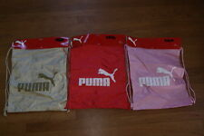 Lot of 3 Puma Dual Print Draw Cord String Hacky Gym Sack Bag Pink Red Brown