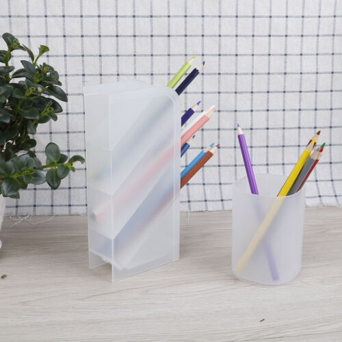 1PC Desktop Pen Holder Office Storage White Plastic Box Desk Pencil Organizer LE