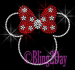 Mickey Christmas Santa Hat Rhinestone Iron on Transfer Fix Bling Mouse Minnie