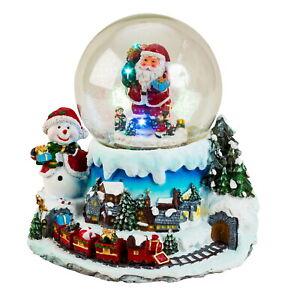 Wunderschöne LED Schneekugel Weihnachtsdorf mit Musik, Bewegung Höhe 19 cm Ø11cm