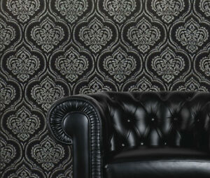 Black Silver Damask Wallpaper Luxury Glitter Sparkle Shimmer Modern