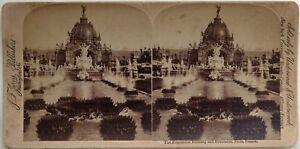 Parigi Esposizione Universale 1900 Fontana Foto Stereo Vintage Albumina