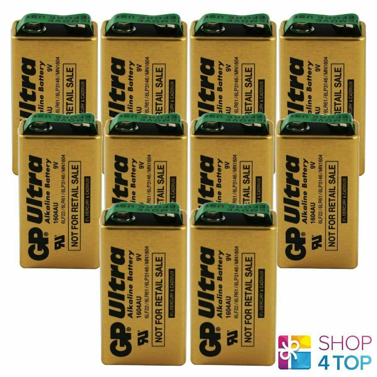 10 GP Ultra Alkaline Battery Industrial 9V 6LR61 E Block MN1604 6LF22 2025 NEW