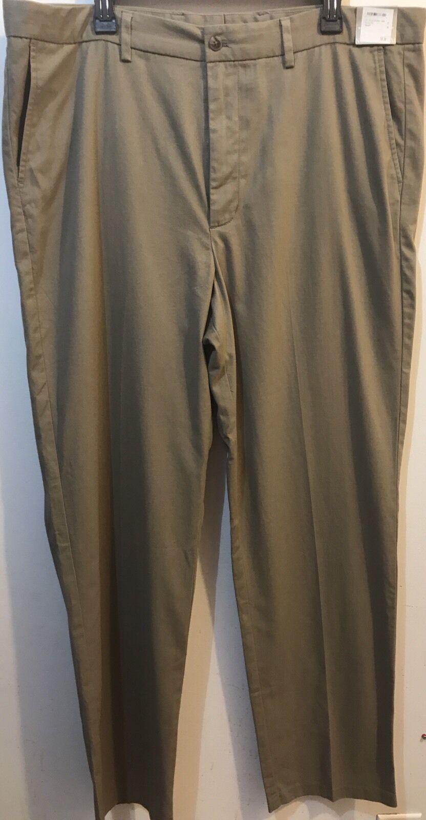 Men's Nordstrom Trouser Pants Smart Care Wrinkle Free Size 40W x 34L in khaki