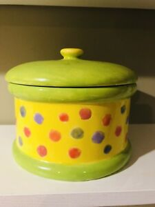 Image Is Loading Ceramic Cookie Jar Container Canister Yellow Green Home