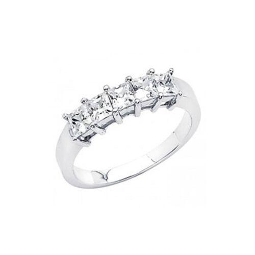 14K White Gold .75ct Princess Cut Simulated Diamond Wedding Band Bridal Ring