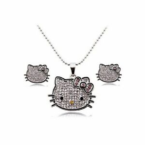 Hello-Kitty-Necklace-Earrings-amp-Ring-Jewelry-Set-Silver-Plated-Girls-Women-Charm