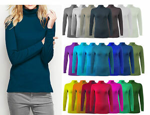 WOMENS-LADIES-LONG-SLEEVE-POLO-NECK-TOP-WOMENS-TURTLE-NECK-T-SHIRT-JUMPER-8-26